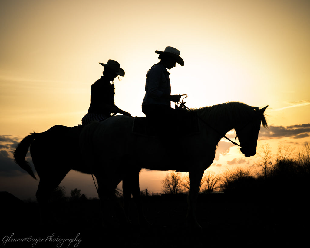 Silhouette of horses and riders at sunset