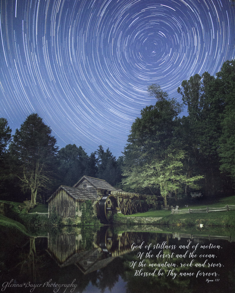 Mabry Mill at night with star trails near Meadows of Dan with song verse