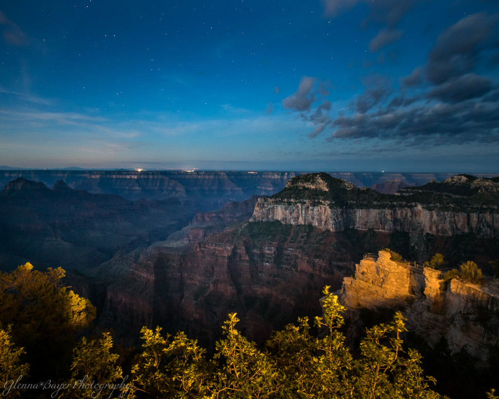 Dusk over the Grand Canyon with stars