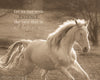 White Horse, Running, Sepia, Bible Verse