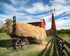 Carriage Hill Straw Wagon, Barn, Windmill, Red, Green, Yellow, Blue, Clouds