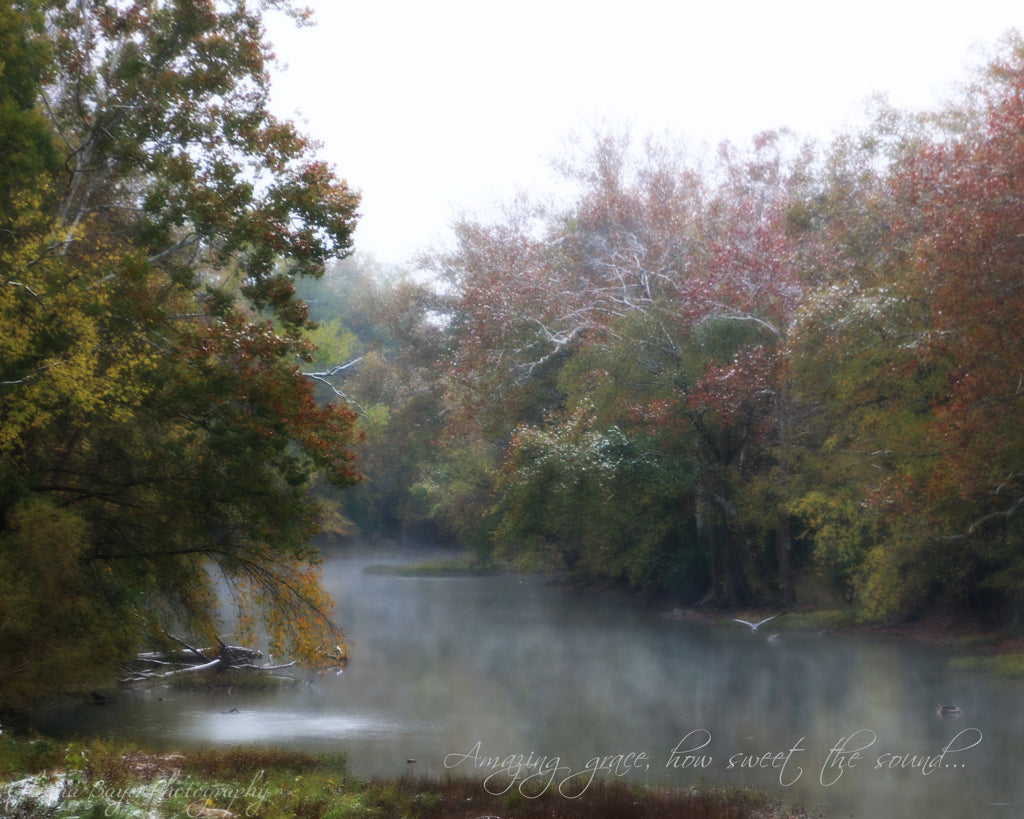 Stillwater River during foggy fall day with song verse