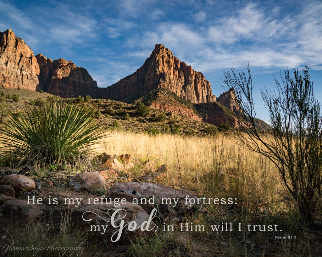 Watchman at Zion National Park with scripture verse