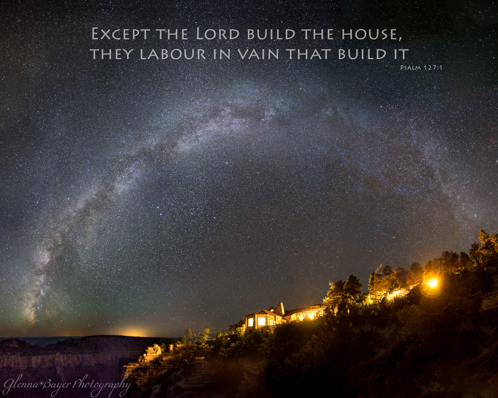 The Milky Way Arch over the Grand Canyon with scripture verse