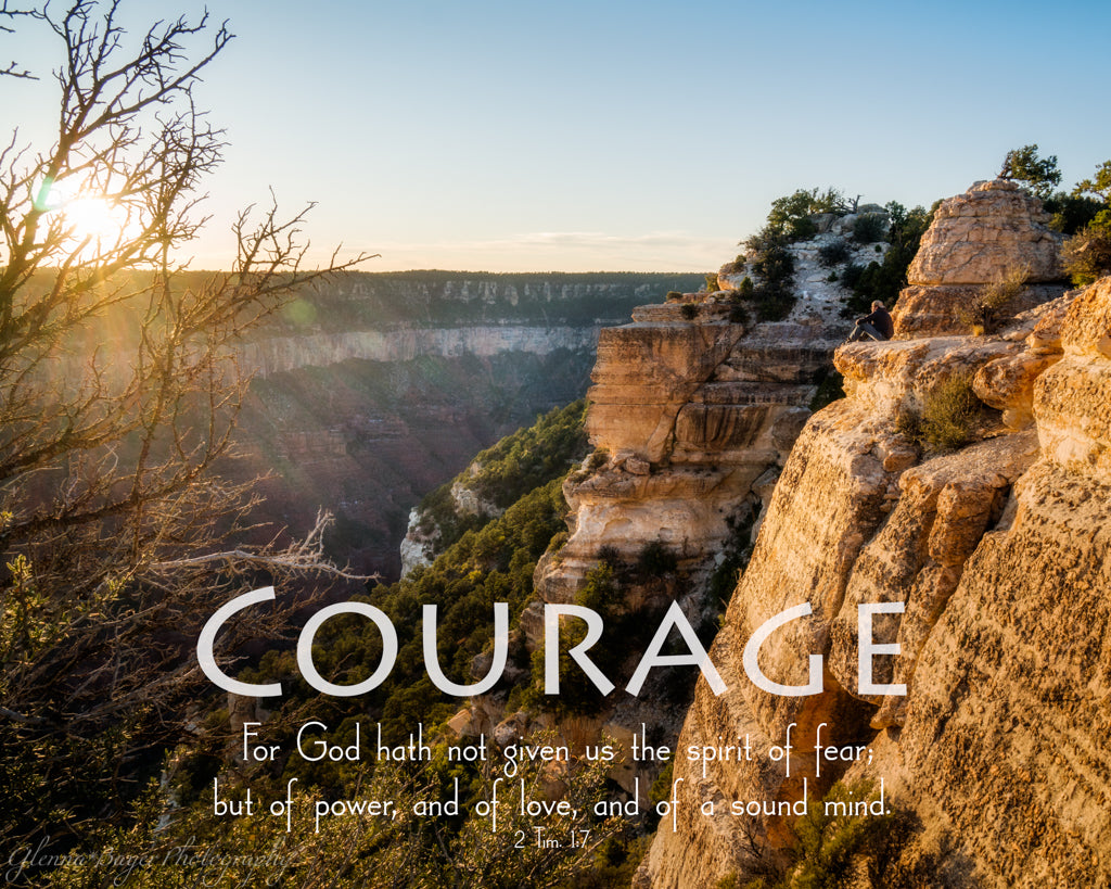Sunrise over the Grand Canyon National Park with scripture verse