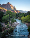 Watchman at Zion National Park, Blue, Green, River, Trees, Bible Verse