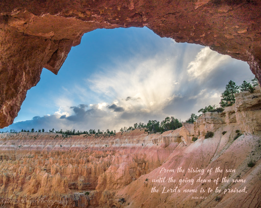 Hoodoos and arch at Bryce Canyon National Park with bible verse.