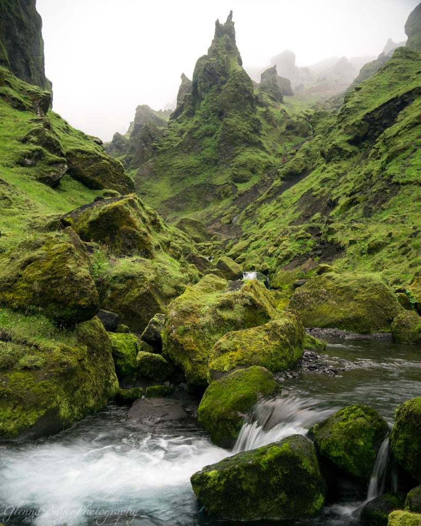Icelandic mountains and stream at Thakgil campground in vin, Iceland