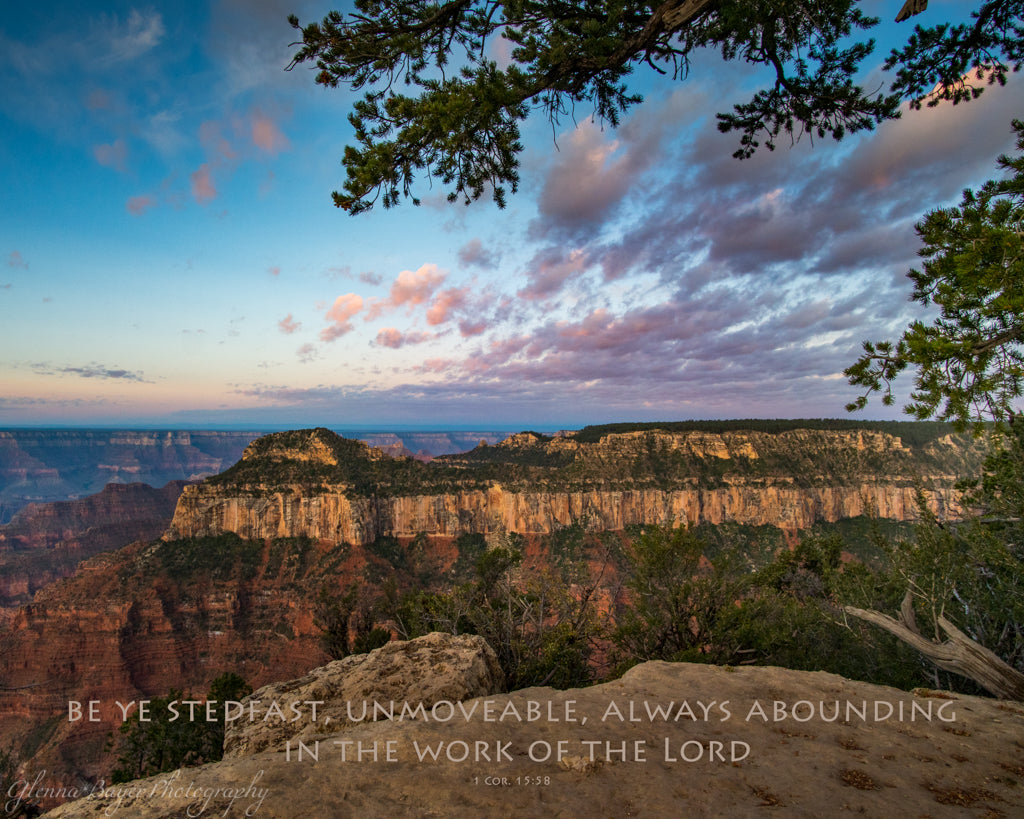 Pink and blue sunrise over the Grand Canyon with scripture verse