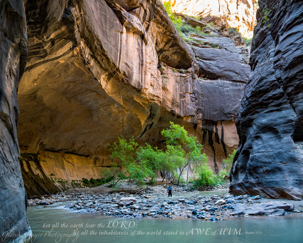 The Narrows in Zion National Park with scripture verse