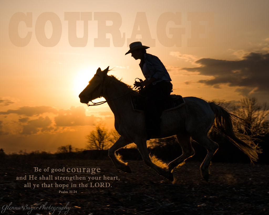 Silhouette of horse and rider galloping at sunset with scripture verse