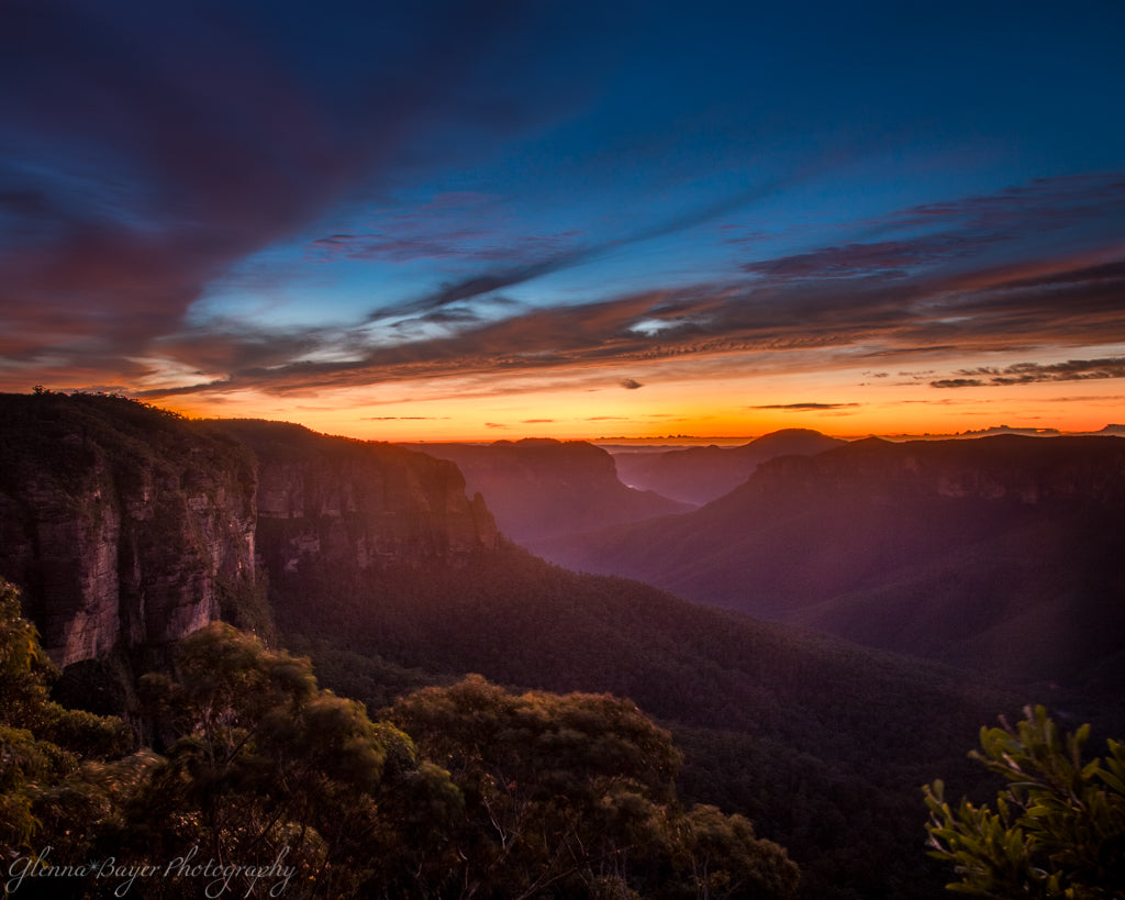 Orange sunrise over the Blue Mountains in Australia