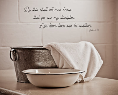 Metal Footwashing Tub with towel, bowl and scripture verse