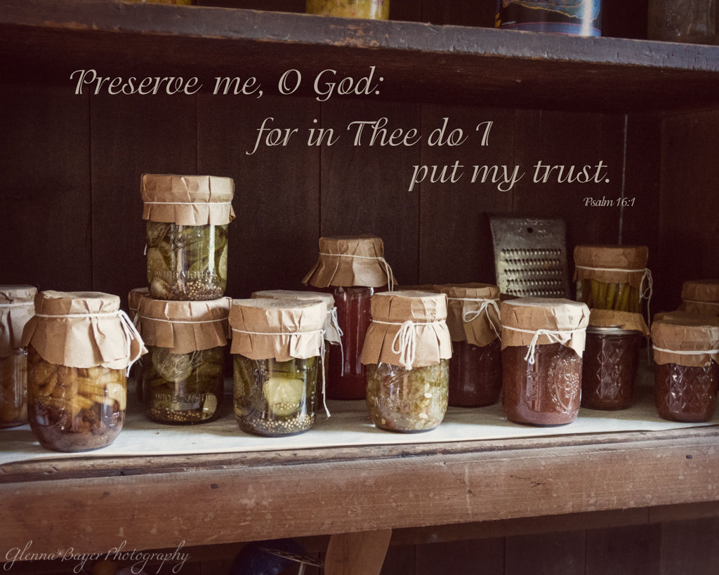 Vintage canning jars of food with scripture verse