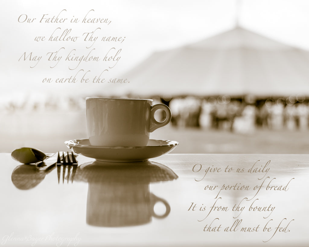 Old German Baptist Church Annual Meeting, Cup and Saucer on Table with Tent in Background