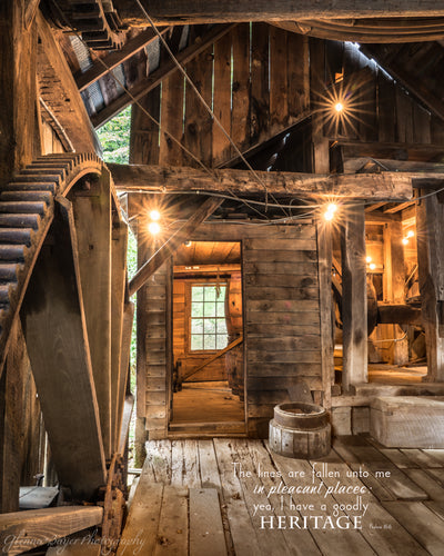 Old wooden mill with scripture verse