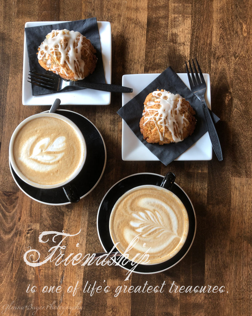 Coffee lattes and breakfast treat with friendship quote