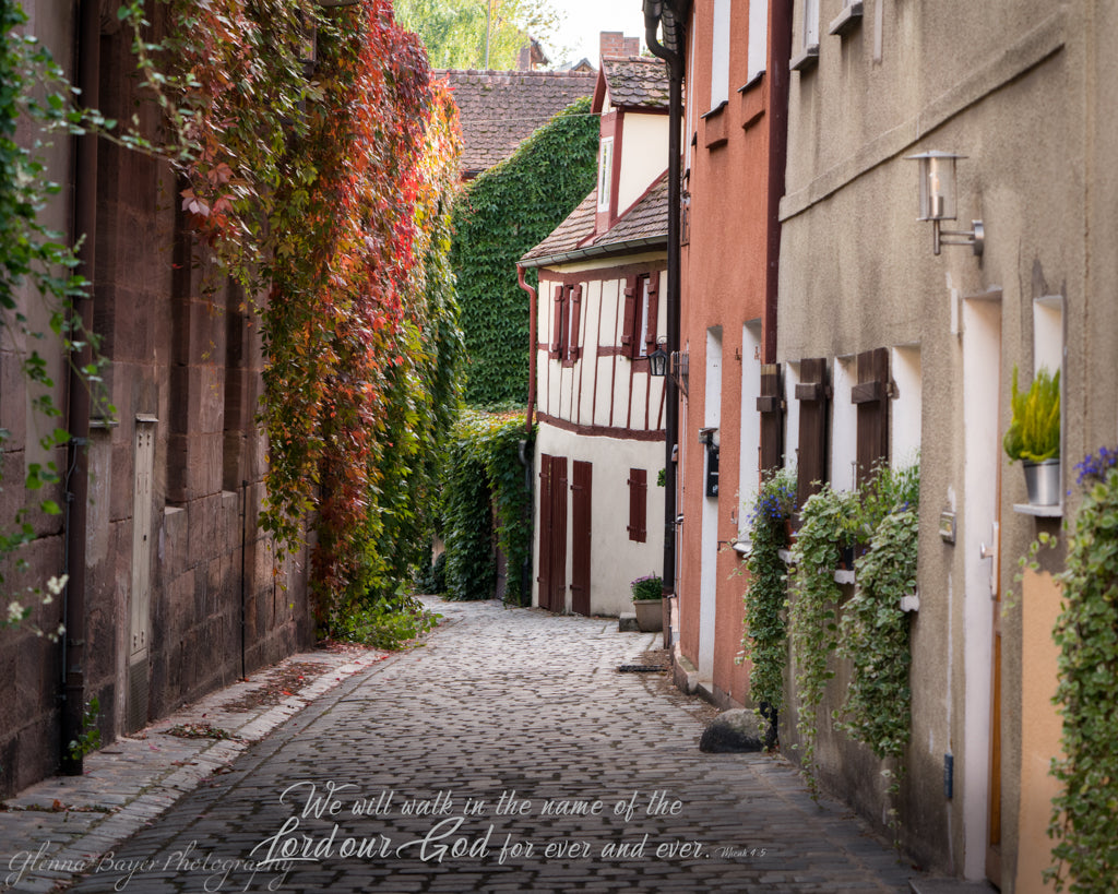 Old street scene with ivy in Schwabach, Germany with scripture verse