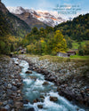 Landscape of rocky water stream through the Swiss Alps in Stechlegbergm, Switzerland with scripture verse