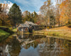 Mabry Mill in Autumn, orange, blue, reflection, scripture verse