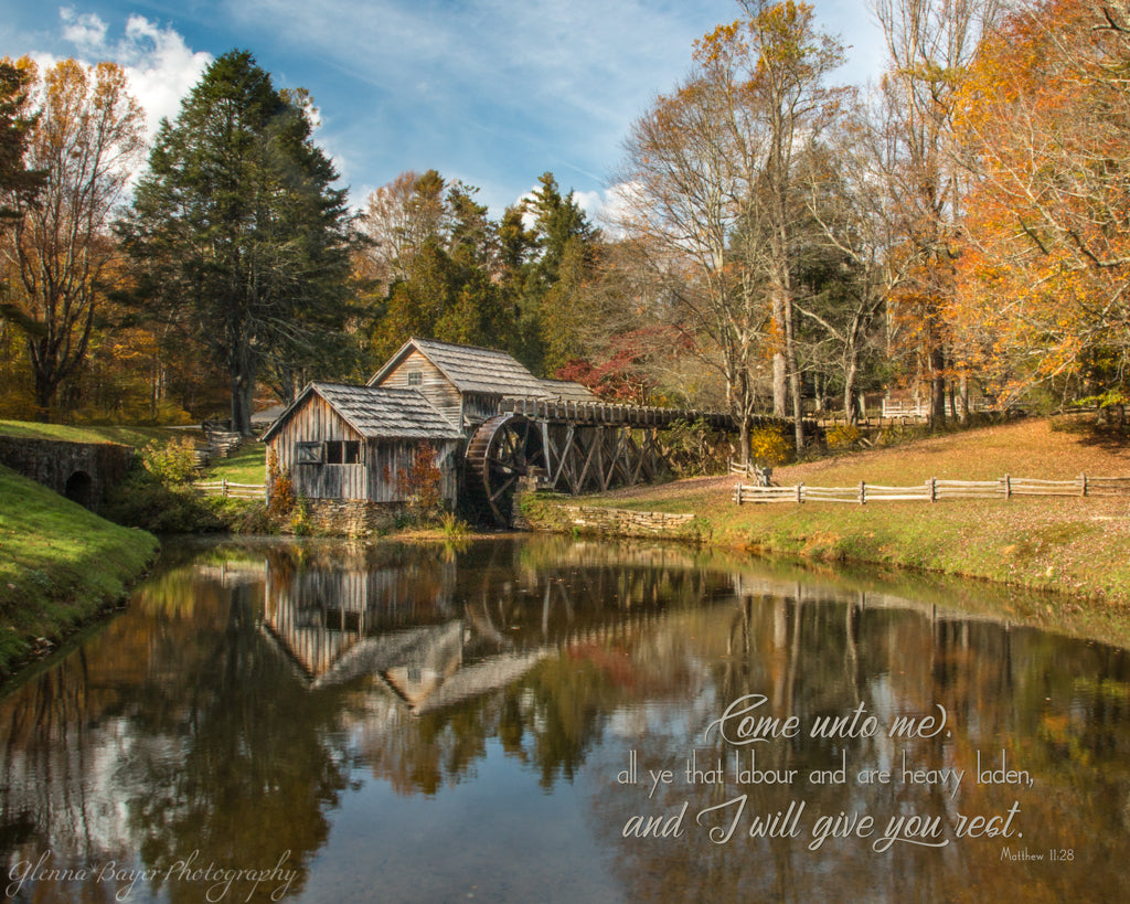 Mabry Mill in Autumn near meadows of dan, Virginia with scripture verse