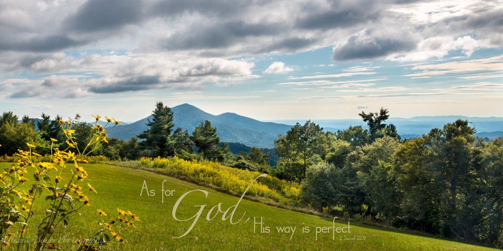 Summer landscape of Cahas Mt. from Parkway with scripture verse