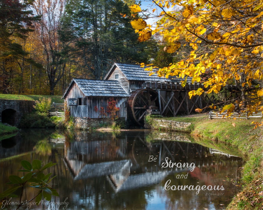 Mabry Mill in Autumn at Meadows of Dan, Virginia with scripture verse