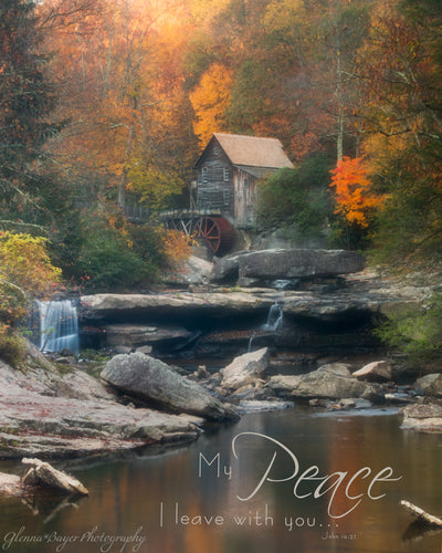 Glade Creek Mill on Autumn morning with scripture verse