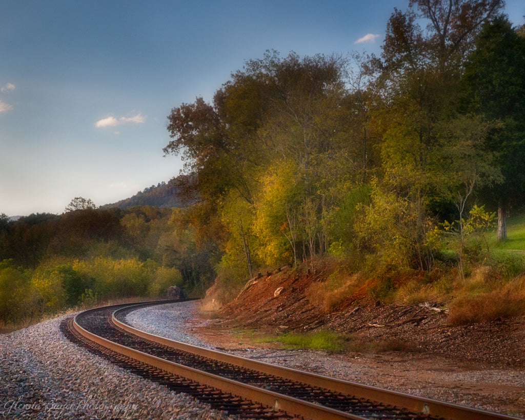 Railroad tracks in Boones Mill, Virginia during autumn