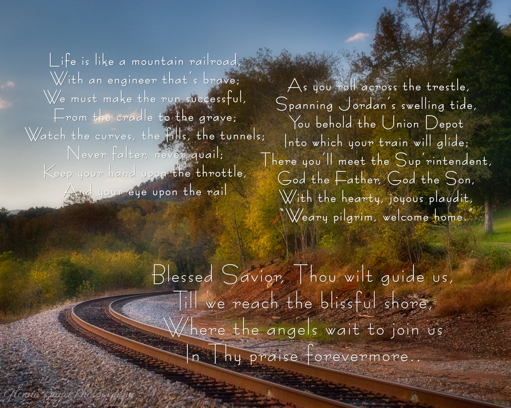 Railroad tracks in Boones Mill, Virginia during autumn with song verse