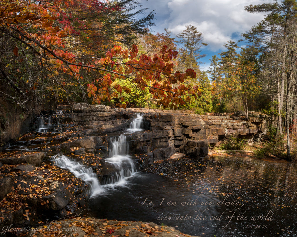 Dismal Falls with autumn leaves in Virginia with scripture verse