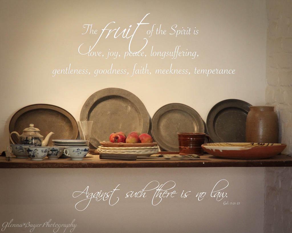 Still life of vintage dishes and fruit on shelf at Mt Vernon, Virginia with scripture verse