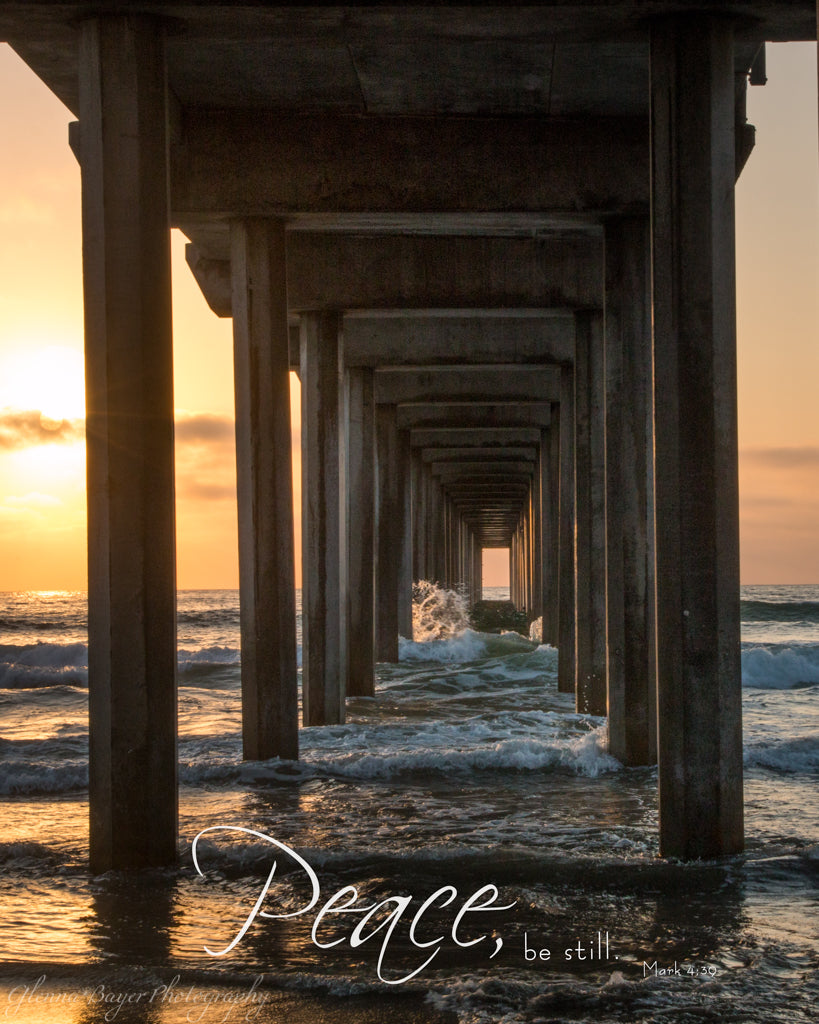 Wooden pier in ocean during sunset in San Diego Pier with scripture verse