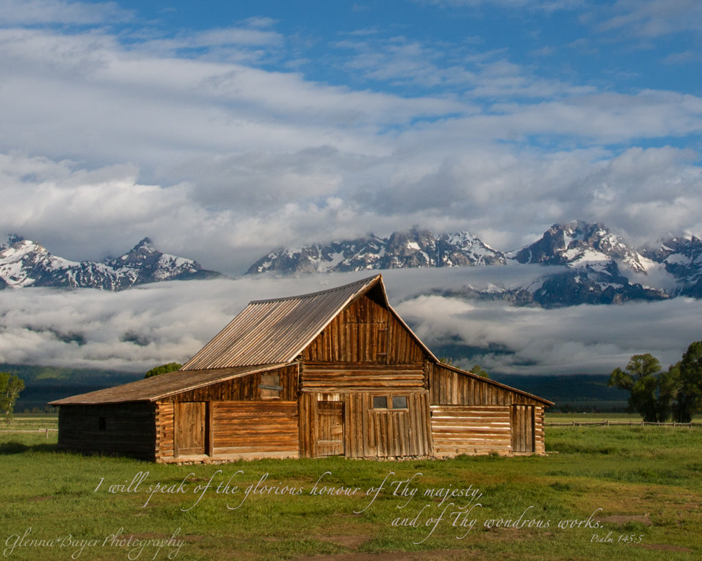 Old barn in the Great Teton mountains with scripture verse.