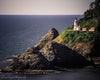 Haceta Head lighthouse and rocky coast in Oregon