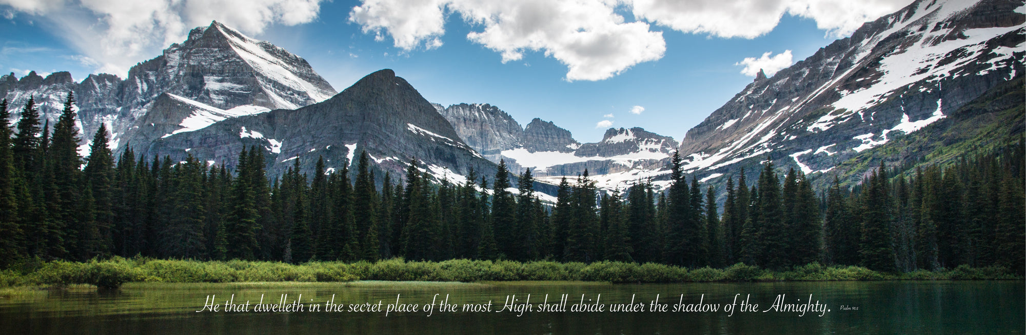 Snowy mountains in summer time at Glacier National Park with scripture verse