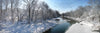 Stillwater River at Horseshoe Bend, Winter, Snow, Blue, White, Bible Verse