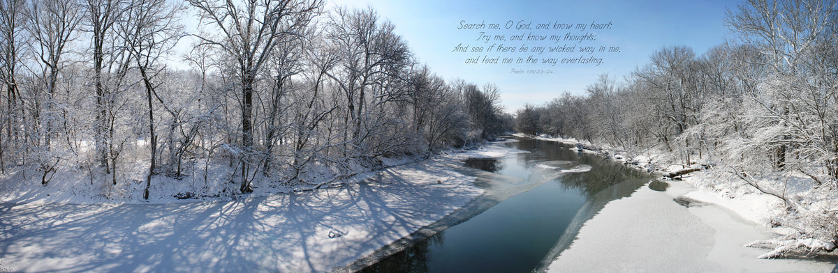 Frozen Stillwater River at Horseshoe Bend Road in Winter with scripture verse