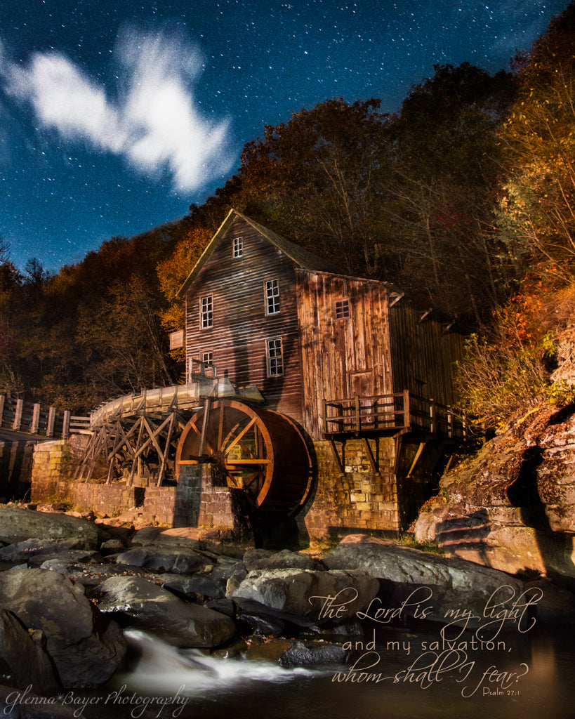Glade Creek Mill at night with stars in West Virginia  with scripture  verse