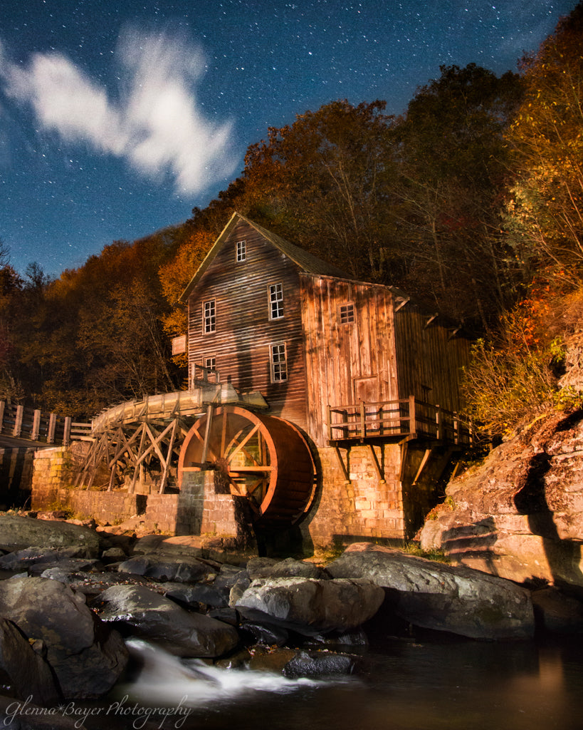 Glade Creek Mill at night with stars in West Virginia