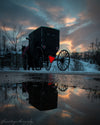 Amish Buggy, Water, Reflection, Sunset