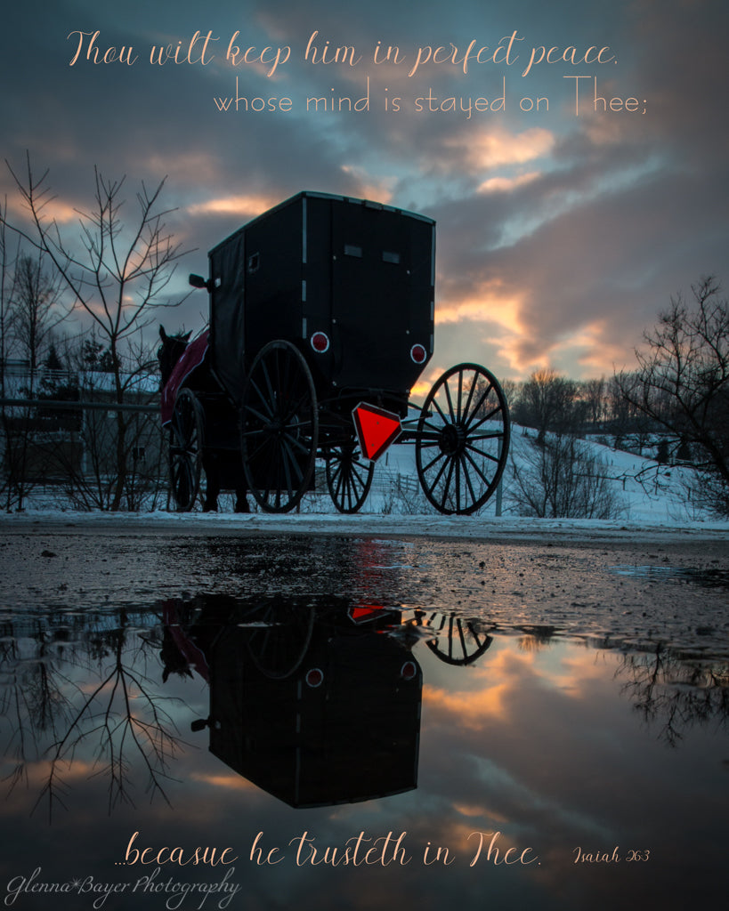 Amish horse and buggy at sunset with blue clouds and sky, and scripture verse.