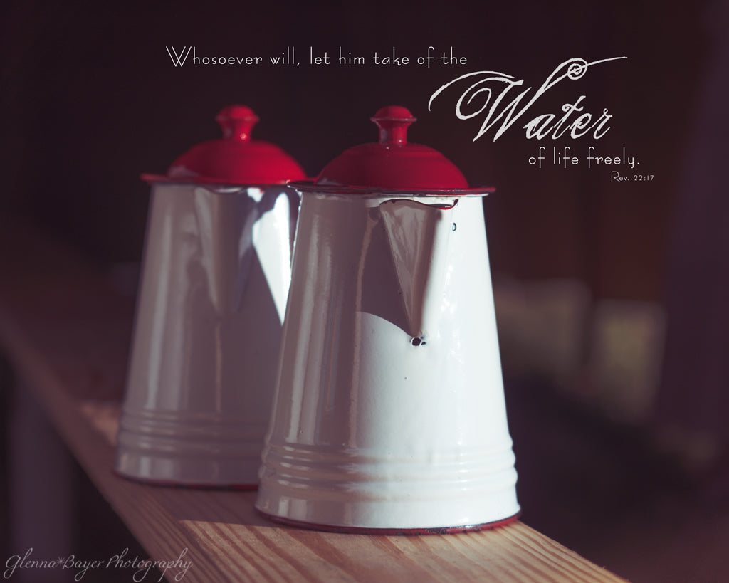 Water Pitchers on bench with scripture verse