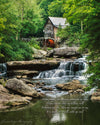 Glade Creek Grist Mill, Babcook State Park, Waterfall, Green, Summer, Trees, Rocks, Song Verse