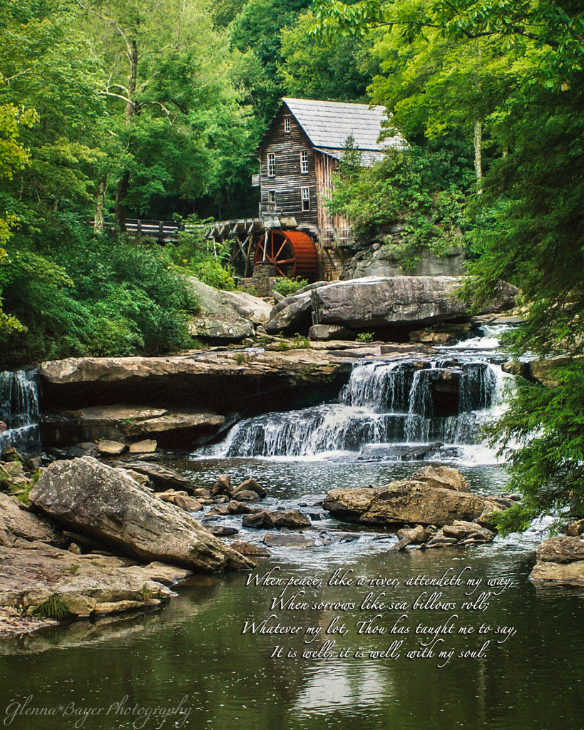 Glade Creek Grist Mill and waterfall in summer with song verse