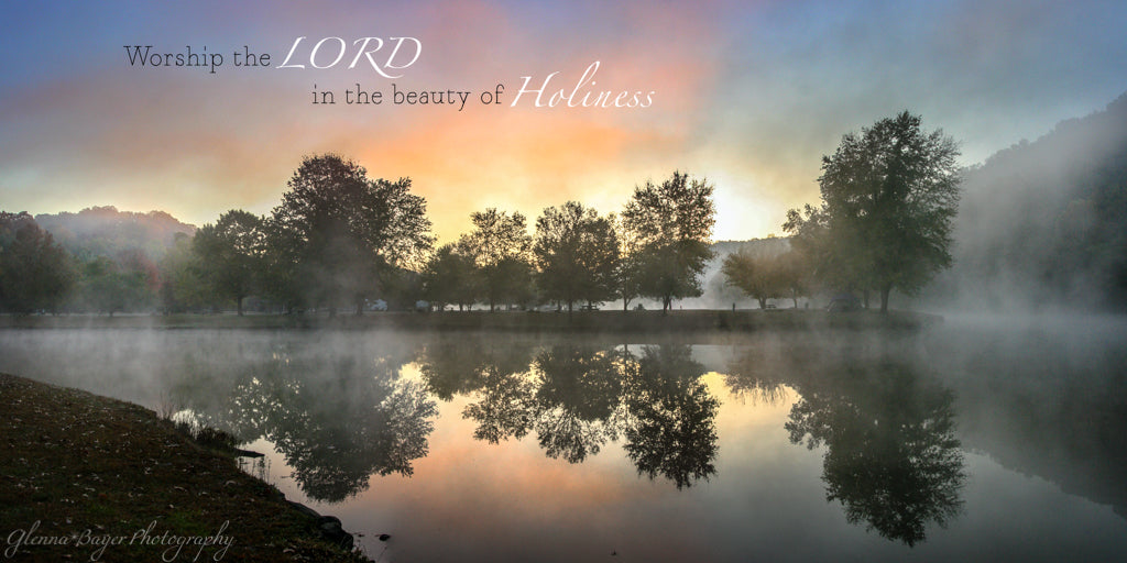 Foggy sunrise on lake at Beech Fork State Park with scripture verse.