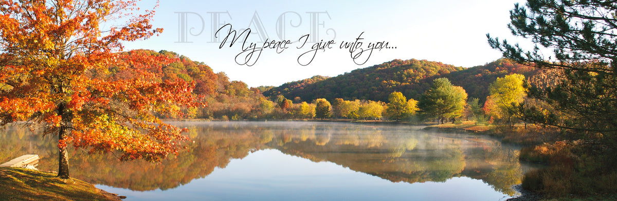 Fall Landscape and Lake at Beech Fork State Park with scripture verse.