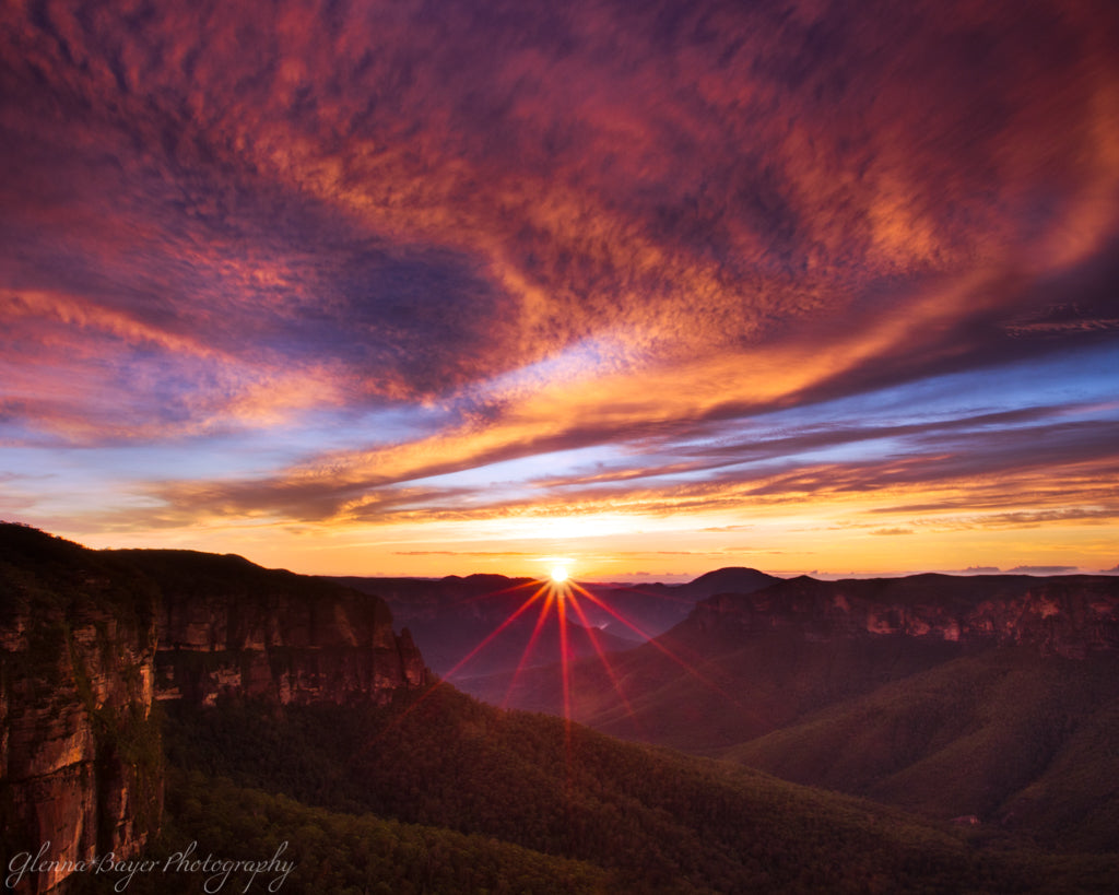Pink sunrise over the Blue Mountains in Australia.
