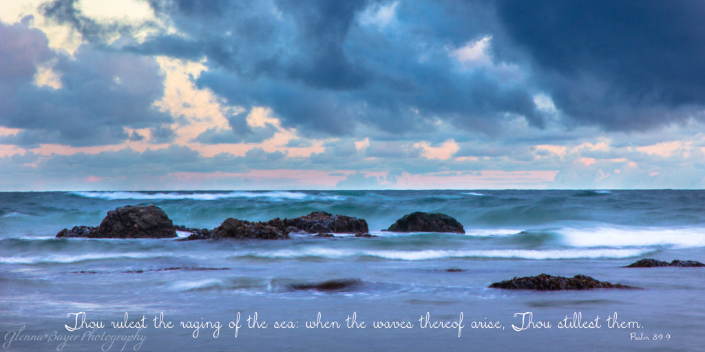 Blue waves and sunrise at Bandon Beach, Oregon with scripture verse