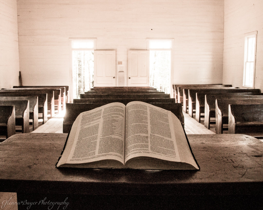 Bible on pulpit at Cades Cove Church in Tennessee